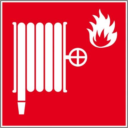 Affichage de sécurité, pictogramme de lance incendie en autocollant ou panneau