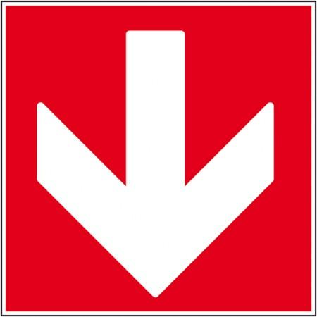 Sécurité incendie pour locaux professionnels flèche bas en autocollant ou support rigide