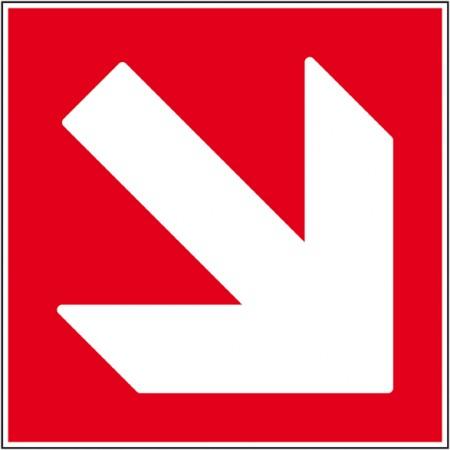 Flèche directionnelle incendie bas droit, affichage de sécurité autocollant et panneau
