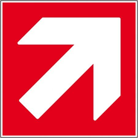 Signalétique pour la sécurité incendie en entreprise, flèche haut droit autocollant ou panneau