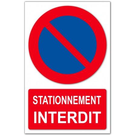 Panneau ou autocollant pour porte de garage et portail stationnement interdit