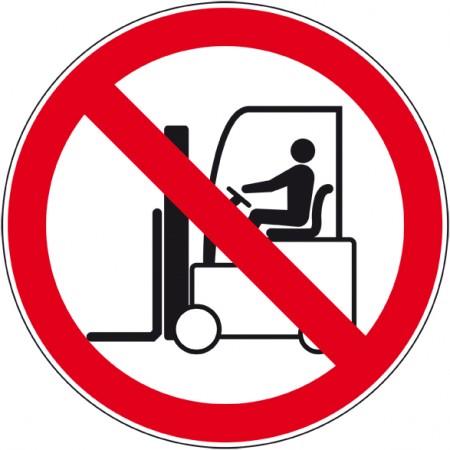 Plaque ou autocollant pictogramme d'interdiction au chariot élévateur