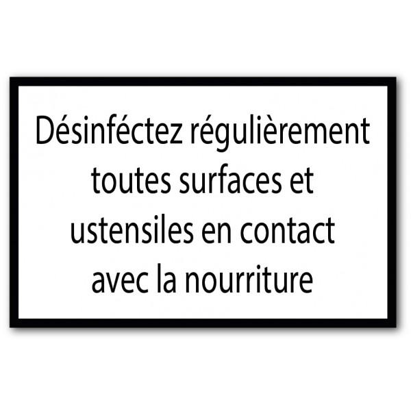 Désinfection des surfaces en contact avec la nour...