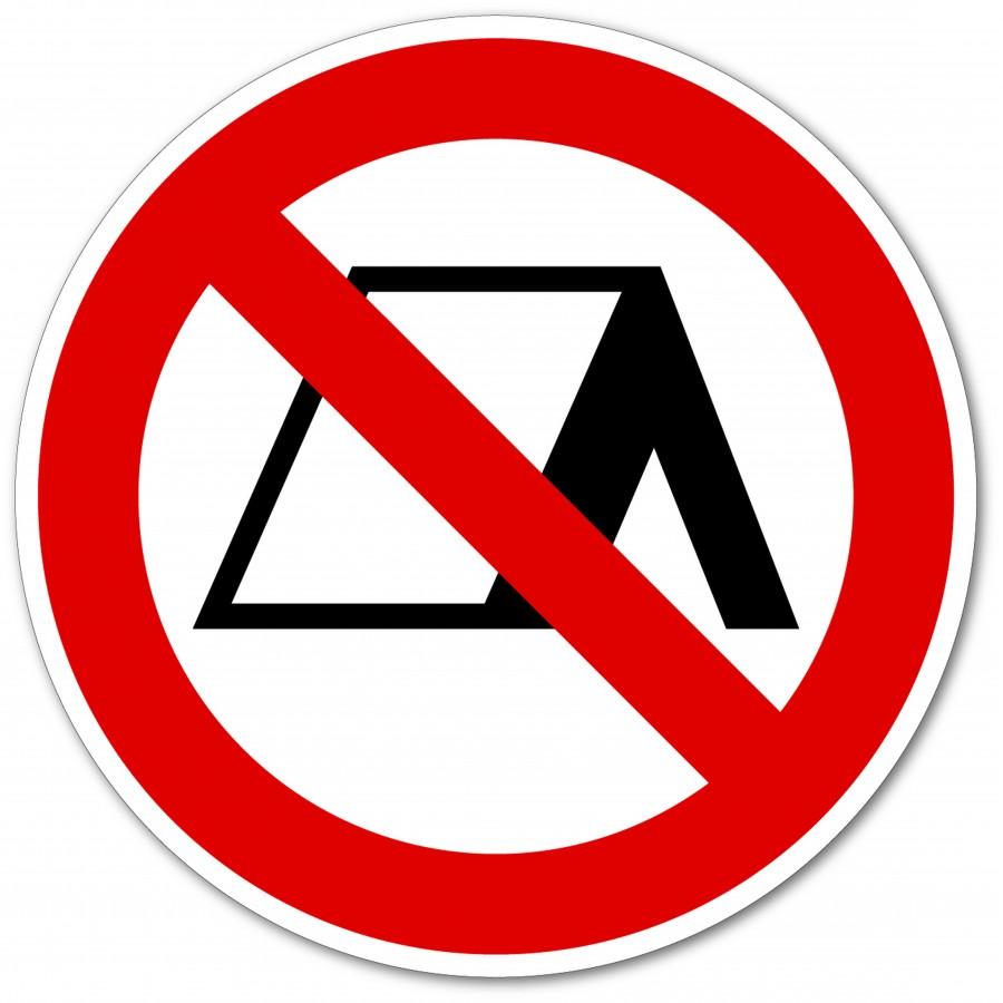 Sticker panneau de signalisation interdiction Camping Interdit