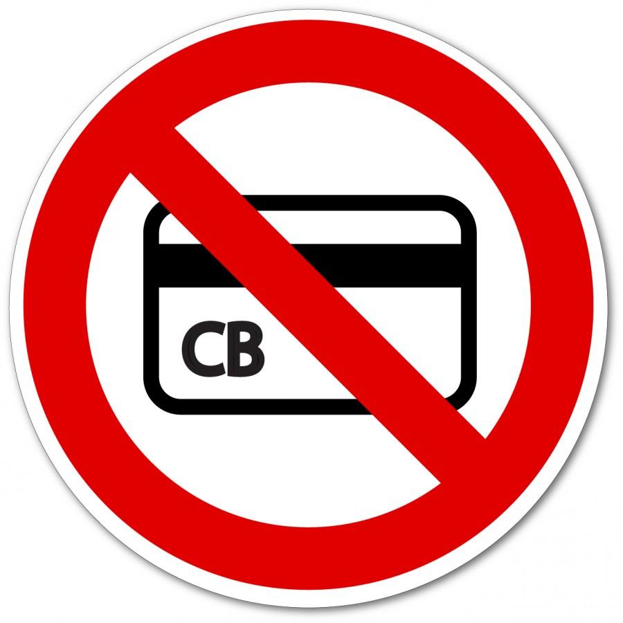 Panneau et autocollant pas de paiement par carte bleue - Adhésécure