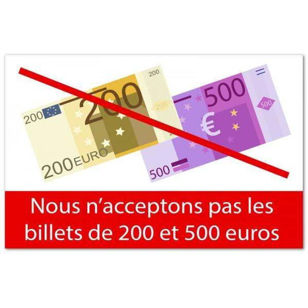 200 et 500 euros non acceptés
