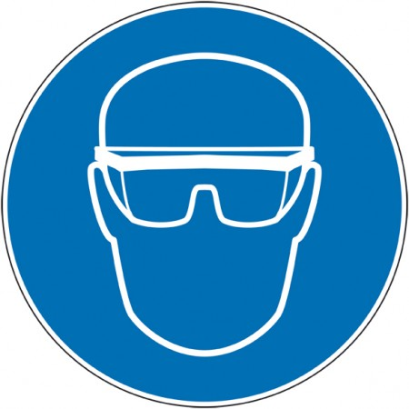 Autocollant ou panneau port de lunettes de sécurité obligatoire