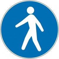 Panneau et autocollant passage piéton obligatoire