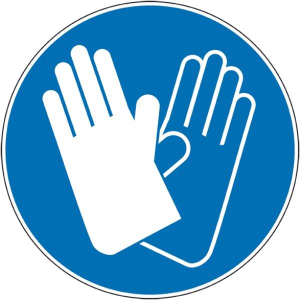 Plaque et autocollant port de gant obligatoire