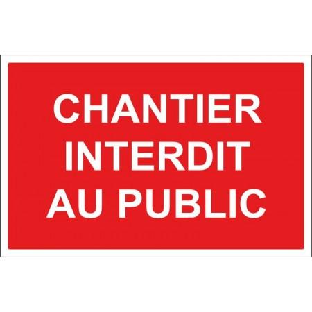 Panneau ou autocollant chantier interdit au public