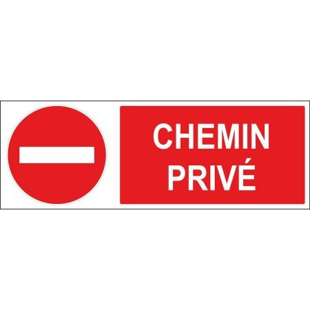 Panneau ou autocollant sens interdit chemin privé