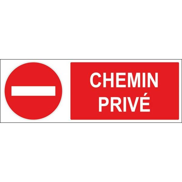 Panneau et autocollant sens interdit chemin privé