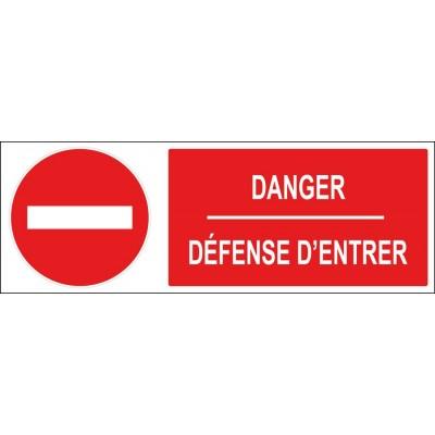 Panneau et autocollant sens interdit danger défen...