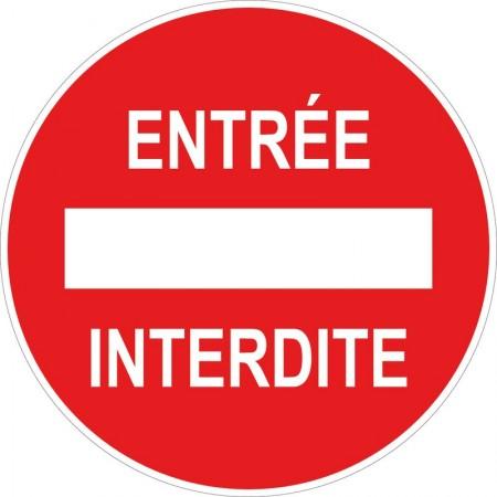 Panneau ou autocollant circulaire, entrée interdite