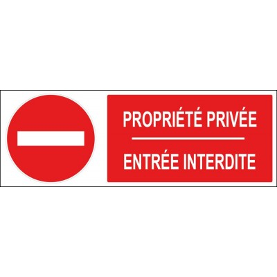 Panneau et adhésif propriété privée entrée in...