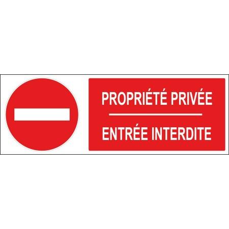 Panneau et adhésif sens interdit propriété privée entrée interdite