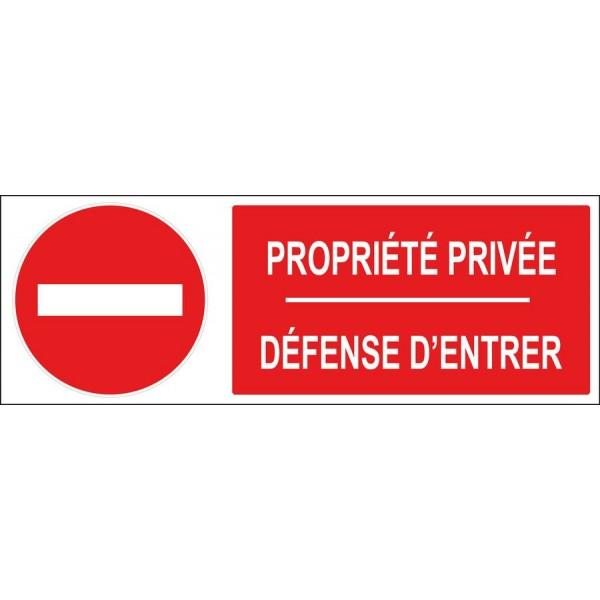 Panneau et adhésif sens interdit propriété priv...