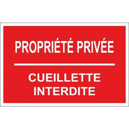 Panneau propriété privée cueillette interdite, panneau ou autocollant