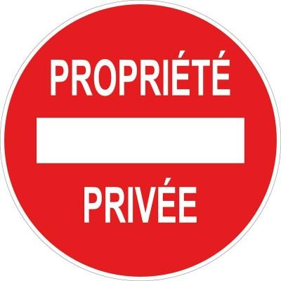 Panneau et autocollant circulaire propriété priv...