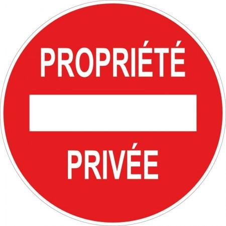 Panneau et autocollant circulaire propriété privée