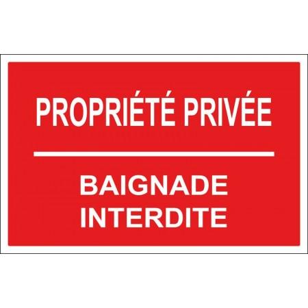 Propriété privée baignade interdite en plaque ou autocollant