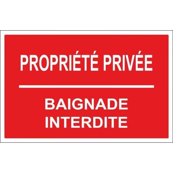 Propriété privée baignade interdite en plaque e...