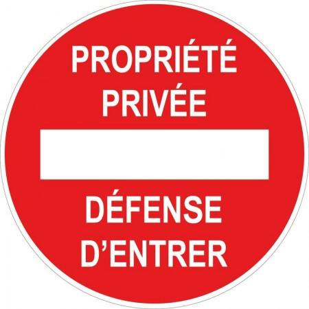 Propriété privée défense d'entrer circulaire, panneau et autocollant