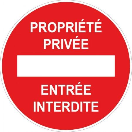 Panneau ou autocollant d'interdiction, propriété privée entrée interdite