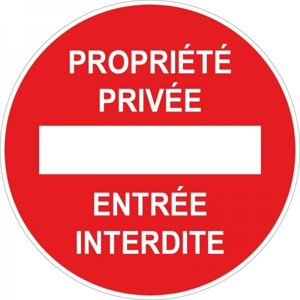 Panneau et autocollant d'interdiction, propriété...