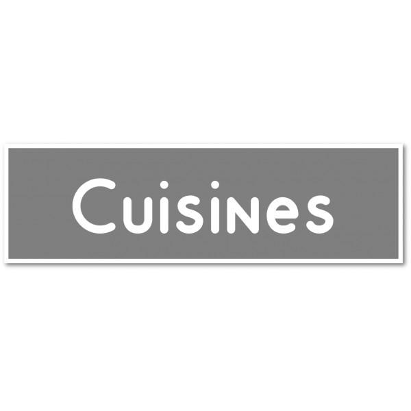 """Plaque et autocollant pour porte """"cuisines"""" - 9 coloris au choix"""