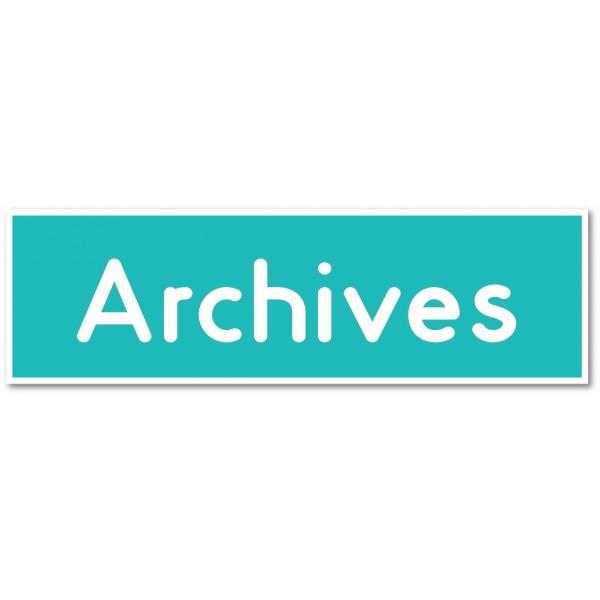 """Plaque ou autocollant pour porte """"archives"""" - 9 coloris au choix"""
