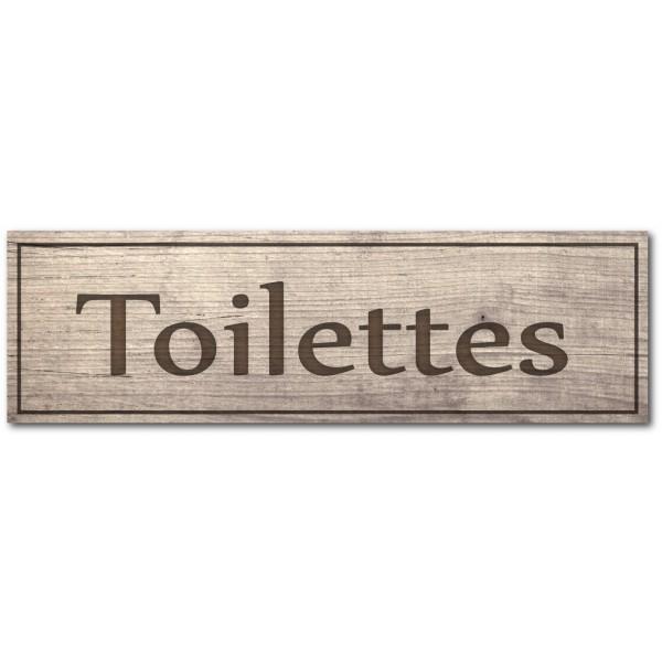 Plaque ou autocollant toilettes, effet bois