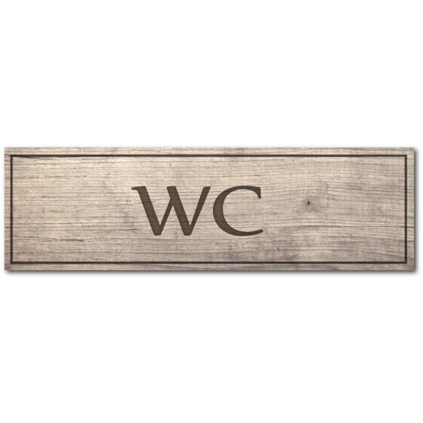 Plaque et autocollant WC, effet bois