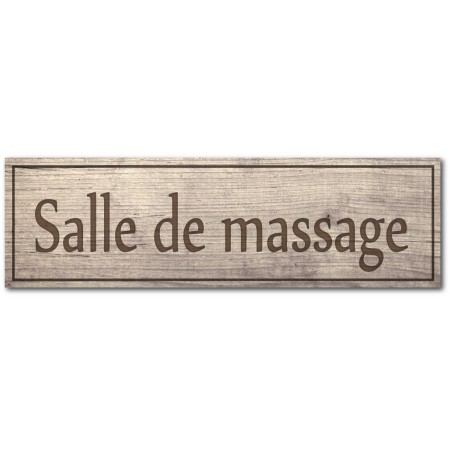 Plaque et autocollant salle de massage, effet bois
