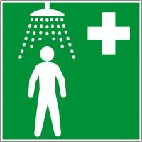 Adhésif ou plaque secours douche de sécurité