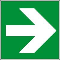 Autocollant panneau indication secours flèche dro...