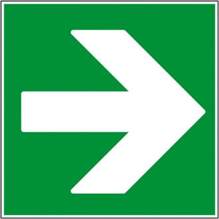 Autocollant ou panneau indication secours flèche droite