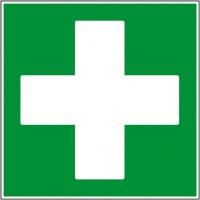 Pictogramme de sécurité croix de secours sur pan...