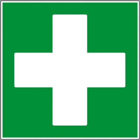 Pictogramme de sécurité croix de secours sur panneau ou adhésif