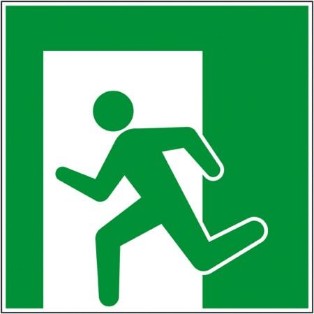 Pictogramme issue de secours vers la gauche en panneau ou autocollant