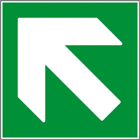 Flèche haut gauche d'information pour la direction des secours, panneau ou autocollant