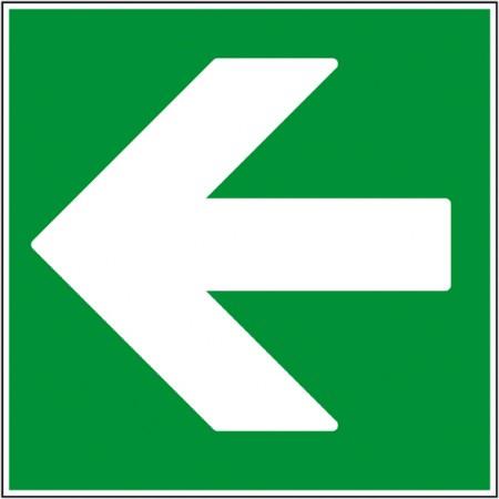 Flèche gauche pictogramme évacuation autocollant ou panneau