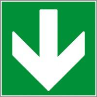 Flèche direction de secours bas autocollant ou pa...