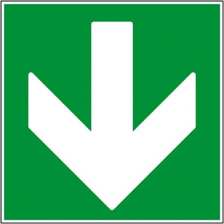 Flèche direction de secours bas autocollant ou panneau