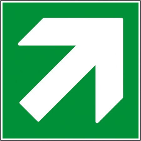 Flèche directionnelle haut droit indication de secours autocollant ou panneau