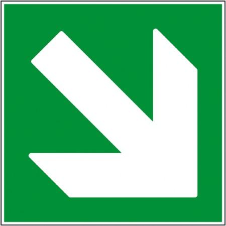 Panneau ou adhésif directionnel bas droit pour indication de secours