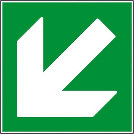 Pictogramme de secours flèche bas gauche autocollant ou panneau