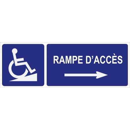 Panneau et autocollant directionnel vers rampe d'accès direction coté droit, affichage d'accessibilité des personnes à mobilité réduite