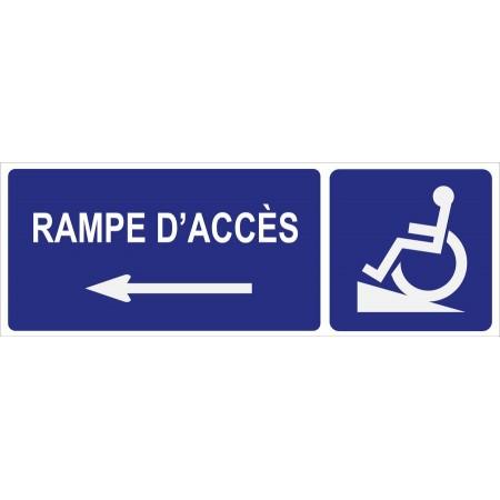 Panneau et autocollant directionnel vers rampe d'accès direction coté gauche, affichage d'accessibilité des personnes à mobilité réduite