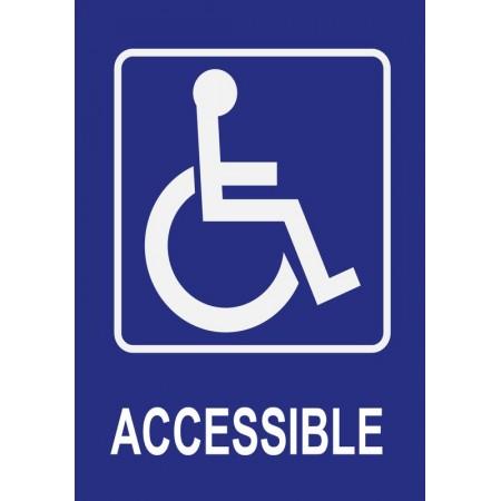 Accessible pour personnes à mobilité réduite, autocollant et panneau
